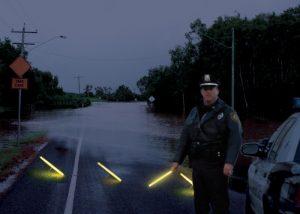 Balisage lumineux au sol pour contrôle routier