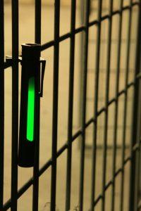 Bâton cyalume vert dans écran kaki