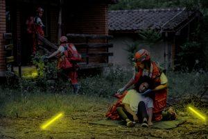 Marquage de zones par pompier en opération de secours SD