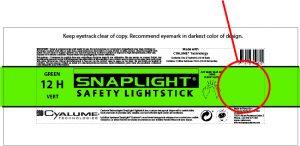 emballage baton lumineux 6 inch customisation snaplight cyalume