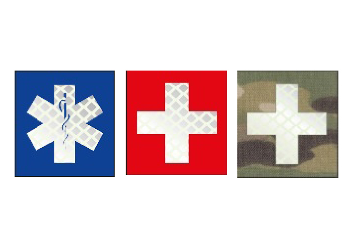 patch with blue cross and caduceus or rescue medical cross