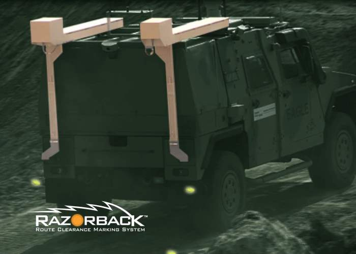 Razorback System for marking mine-cleared routes