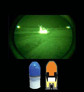 cartouche d'exercice Cyalume basse velocité 40mm munition chimioluminescente pour l'entrainement