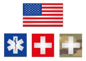 drapeau ou croix secours médical réfléchissant