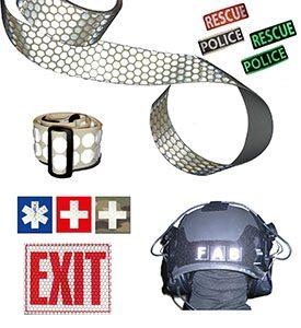 patchs panneaux ceintures bandes retro reflechissant photoluminescent