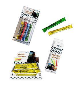 personnalisation de packagings ou emballages de batons lumineux cyalume