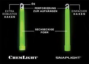 snaplight und chemlight Leuchtstaebe Differenzen