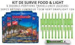 Kit de survie Food Light batons cyalume rations alimentaires travellunch