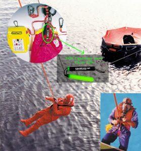 cyalume sos lighting device on safety harness evacuation